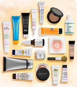 "sephora:  X-RAY: SEPHORA FAVORITES SUN SAFETY KIT Look inside our biggest, best, and brightest Sun Safety Kit yet. THE HISTORY: Sephora has partnered again with the Skin Cancer Foundation to help raise awareness about the damaging effects of the sun ($20 from the sale of each kit benefits the organization). What began as a five-product collection sold in a sandwich-style bag seven years ago has morphed into a comprehensive sun-protecting kit of some of the best sun protection—from 18 different top beauty brands. THE INSPIRATION: ""We wanted to show that there are different and beautiful ways to protect skin from the harmful rays of the sun,"" says Associate Skincare Merchant Cassie Cowman. ""We sold out of the kit last year and helped to raise over $500,000 for the Skin Cancer Foundation. This year, we're aiming to do the same and raise even more money."" 1. bareMinerals Original Mineral Veil Broad Spectrum SPF 25 and bareMinerals® Mini Flawless Application Brush ""The powder formulation and the brush applicator create a great, unique way to protect your skin from the sun. Plus, you can reapply it over your makeup without fear of looking greasy."" 2. Boscia Self-Defense Antioxidant Moisture SPF 30 ""I love that this doesn't leave you with the thick white streaks typically associated with sunscreens. It's a great way to get natural protection from harmful rays."" 3. Clarins UV Plus HP Sunscreen Multi-Protection Broad Spectrum SPF 40 ""This is one of the top selling sunscreens in the country. You only need a small dot of this liquid-like formula for a high level of coverage. I use it because it's super thin and sheer.""  4. Dr. Brandt Signature Flexitone BB Cream SPF 30 ""A little of this multitasker goes a long way! The Flexitone technology allows for this tinted cream to work with all skintones."" 5. Dr. Dennis Gross Skincare Alpha Beta Glow Pad ""This towelette is both an exfoliator and a subtle self-tanner, and it includes ingredients to give your skin the vitamin D that it craves."" 6. Josie Maran Cosmetics Argan Daily Moisturizer Broad Spectrum SPF 40 ""It's a bestselling cult favorite—and we're obsessed with it. It's lightweight and has a super hydrating, unprecedented, luxurious texture, especially considering how high the SPF is."" 7. Lancôme Bienfait Multi-Vital SPF 30 Cream ""Think of this one as a multivitamin for your face. With tons of nourishing vitamins E and C (among others), it's a rich—but not heavy!—formula that does more than a traditional sunscreen.""  8. L'Occitane Immortelle Brightening Hand Care SPF 20 ""Oftentimes, we forget about taking care of our hands. This antiager diminishes the appearance of dark spots while specifically protecting hands from the sun."" 9. Miracle Skin Transformer Face SPF 20 ""This silky all-in-one works as a great primer. Plus, it has the matte finish, so it's perfect for summer!"" 10. Ole Henriksen Protect the Truth SPF 50+ ""It's a lovely-scented, oil-free sunscreen that is pumped full of vitamin C. It leaves my skin with a dewy finish."" 11. Origins A Perfect World SPF 25 Age-Defense Moisturizer with White Tea  ""All you need to protect your skin from the sun is in this zesty-scented antioxidant cocktail!"" 12. Peter Thomas Roth Clinical Skincare Max Sheer Day Moisture Defense Lotion SPF 30 ""Love that it has a high level of SPF, but still manages to be thin and quick-drying."" 13. SEPHORA COLLECTION Age Defy Moisture Cream SPF 15 Sunscreen ""It's an everyday sunscreen that includes the patented Hydrosenn+ for incredible hydration."" 14. Shiseido Ultimate Protection Cream+ Broad Spectrum SPF 50+ ""Tried-and-true client favorite. In fact, it's the bestselling sunscreen at Sephora. It's water resistant, so you can wear it in the summer by the pool."" 15. Smashbox Photo Finish Foundation Primer SPF 20 with Dermaxyl Complex ""I wanted to make sure that we included a primer so I chose one of our favorite bestselling ones. It's important to show that you can get SPF protection with a primer."" 16. St. Tropez One Night Only Instant Glow Body Lotion ""You can get your tan on and look like you've been sunbathing at the beach. It washes off so it's not a high commitment, but it will definitely give you that sunkissed look when you want it."" 17. Tarte Brazilliance Skin Rejuvenating Maracuja Self Tanner ""Just because you're protecting yourself from the sun doesn't mean that you can't get a great bronzed look. This self-tanner gives me an immediately visible glow that also really hydrates."" 18. Too Faced Chocolate Soleil Matte Bronzing Powder with Real Cocoa ""We couldn't imagine making a kit without Too Faced. Co-owner Jarrod Blandino's sister had skin cancer so this is a topic that's close to their heart. It's a great face bronzer that adds a safe and healthy glow."" LENA PARK"