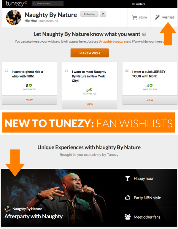 "Introducing Fan Wishlists to Tunezy  In mid November last year, Tunezy changed focus away from a social record label towards providing amazing fan experiences with artists around the world.  We've been in the trenches with artists ever since, delivering unique experiences to their loving fans.  Today, we're happy to introduce a new feature, called ""Wishlists"", that let us make fan experiences even better. Wishlists let fans make requests for experiences from their favourite artists.  Users can do this from an artist's profile or via Twitter, by simply tagging their wish with ""@artist_handle"" and ""#fanwish"".  Once a wish is created, fans add important information to their wishes like what cities, dates, and types of communication are convenient.  This critical information is then passed on to the artist who can choose to work these experiences into their busy schedules.  If a wish can be fulfilled, the wishing fans will be notified by Tunezy.  Making a wish isn't a contract, it's just a way for fans to share their dream experiences, with the awesome possibility that it could come true.    We built Wishlists because we observed that lots of fans were using comments to make their dreams heard on an artist's Facebook, Twitter, and Youtube.  The problem was that the artist didn't know what to do with those requests; they wanted to engage with their fans, but without a platform to get the right information from fans and actually carry out those experiences, they hit a road block.  With Wishlists, Tunezy now let's artists get experience requests from their fans and seamlessly lets them turn it into an awesome, customized experience.  It's a win-win, and we love those. Alongside this change, we've also removed music and Notes from the site.  We know these are big changes, but they will let us spend our resources on delivering what matters most to our users.  We removed music because users already have so many great options to listen and discover, and they already know which artists they like.  Our goal is to give those fans a place to request and get fan experiences from those artists.  With Notes, we were just not happy with how we were delivering value to users for earning them, so until we make them more meaningful to collect, they will be discontinued from Tunezy. Check it out and let us know what you think.  As always, we crave your feedback, so don't be shy!    A personal thank you:  To Darren Fung, Rahil Sondhi, Soheil Alavi, Neha Singh, and Monika Patel for working hard over the past couple months to deliver a great feature to our users."