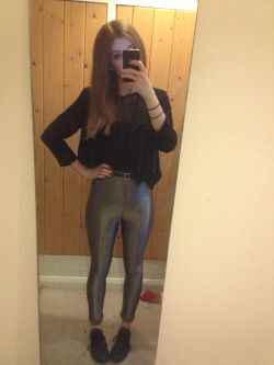What I wore today Pewter disco pants, fishnet top, black converse, black blazer