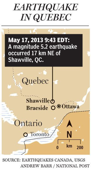 Toronto and Ottawa shaken, offices evacuated as two earthquakes hit Ontario and QuebecTwo earthquakes shook eastern Ontario and Quebec Friday morning, rattling buildings and nerves as far away as Barrie, Toronto and Waterloo.A 5.2 magnitude quake hit about 20 kilometres northeast of Shawville, Que., at 9:43 a.m., according to Earthquakes Canada.Although the data initially indicated a 4.2 magnitude earthquake shook Braeside, Ont., 10 minutes later, Earthquakes Canada updated its report to say there was a 4.1 magnitude aftershock near the Shawville epicentre at 9:53 a.m.Buildings in Ottawa and Toronto were evacuated, including the offices of the National Post. The quake touched off an eruption of reaction on Twitter as users reported buildings shaking in Ottawa for several seconds.