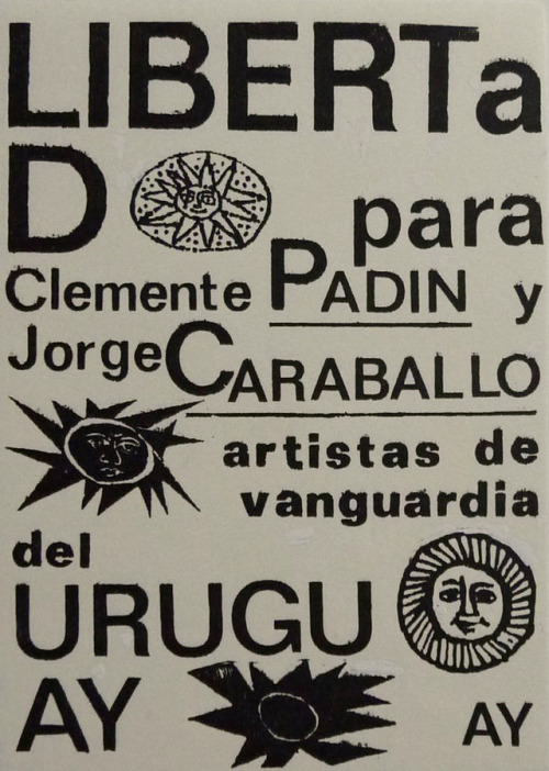 garadinervi:Card by Guillermo Deisler, 1978, in support of the International Campaign to Free Clemente Padín and Jorge Caraballo, imprisoned in 1977 during the Uruguayan Dictatorship [Archivo Clemente Padín, Montevideo]