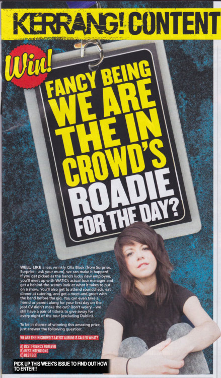 So you wanna be our roadie for a day on the upcoming UK tour? Pick up a copy of this week's Kerrang! to find out how to enter!