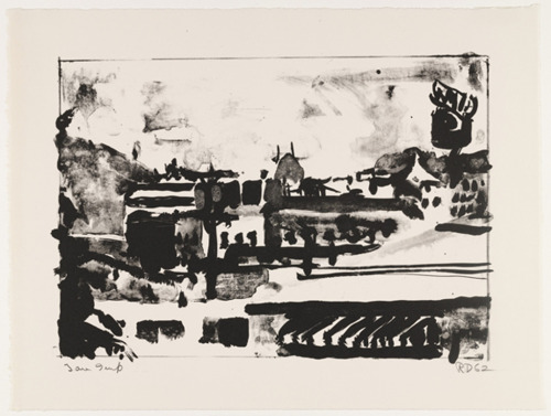 "Richard Diebenkorn, Landscape with Awning, 1962. Lithograph, irreg composition 9 1/2 x 13 9/16"" (24.1 x 34. cm) sheet 12 1/4 x 16 1/4"" (31.1 x 41.2 cm). Image c/o MOMA, gift of Kleiner, Bell & Co. ©2013 Richard Diebenkorn."