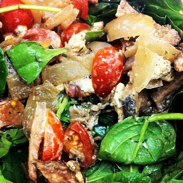 From Gastroposter Tanya Zdravkovski:  Salad of the day: spinach, cherry tomatoes, caramelized onions, herbed goat cheese, strip loin steak and homemade tomato balsamic dressing.  Tomato Balsamic Dressing 1/2 cup balsamic vinegar1/2 cup extra virgin olive oil 1 tsp dijon mustard1 tbsp tomato paste 1/2 a tomato, chopped  1 tsp fresh oregano salt and pepper to taste  Add all ingredients to a blender. Blend and enjoy!
