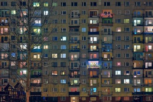 russia plattenbau beton concrete by night city lights window lights architecture