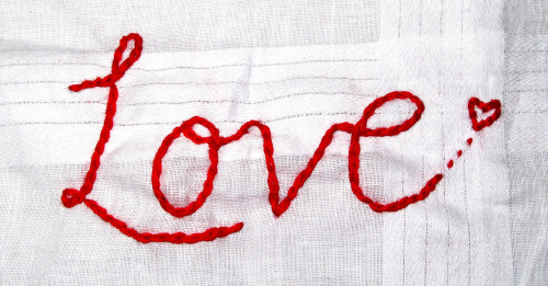 Love Embroidery on cotton handkerchief Isobel Woodcock