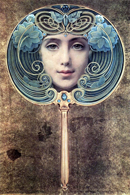 "saveflowers1:  Art by Louis Welden Hawkins, a German artist, (1910) ""Facher auf Goldenem Grund."