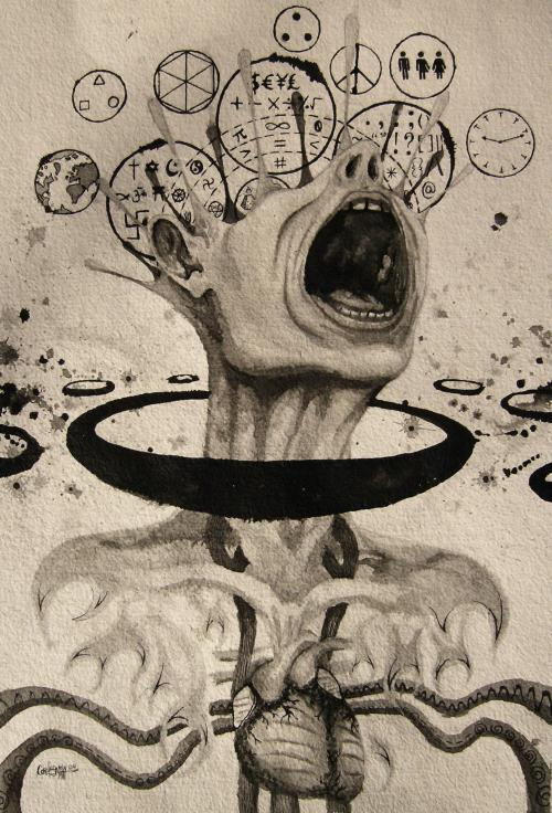 csmith-art:  Ontological Exorcism, 2011 Pen and Ink on Handmade Watercolour Paper 12 x 17 inches www.facebook.com/csmithartworks