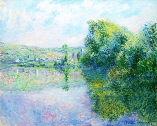 The Siene at Vetheuil. Artist: Claude Monet Completion Date: 1880 Style: Impressionism Genre: landscape