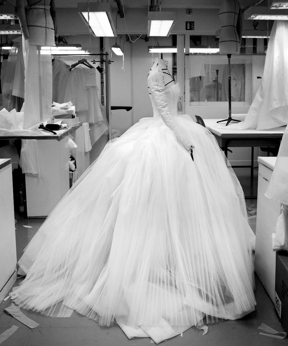 Creation of a Dress for the Christian Dior Haute Couture Spring/Summer 2012 collection, photographed by Gérard Uféras