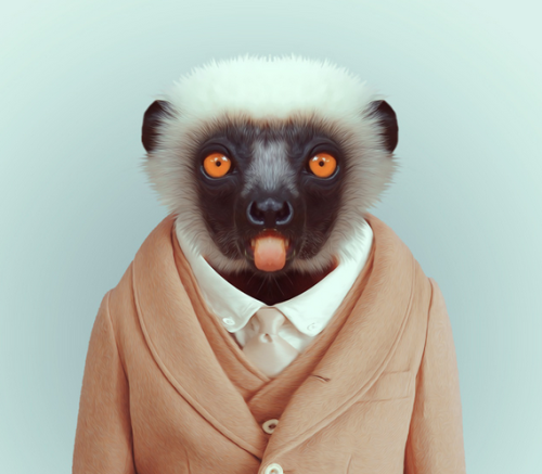 islandoflemurs:  Photographer Yago Partal has combined the Internet's love of cuddly animals with its disdain for hipsters with a series of photo-manipulated portraits featuring zoo animals in trendy togs. See the full gallery here!