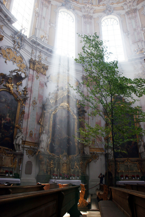 The interior decor of the Ettal Abbey, located in in Bavaria, Germany