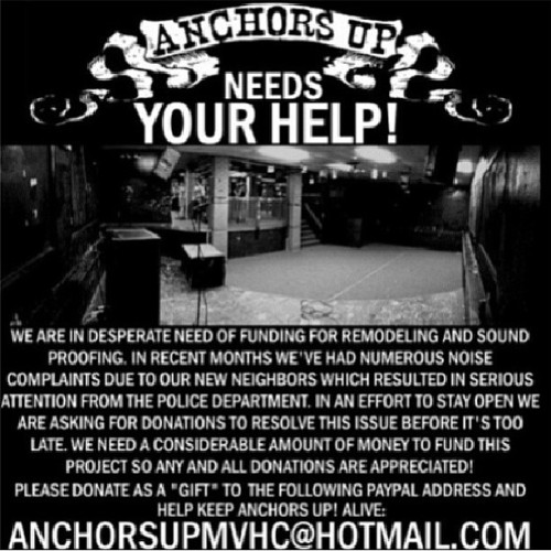 Please help support. This venue means so much to a lot of people. A little bit goes a long way! Your donation and repost will be much appreciated #MVHC #anchorsup