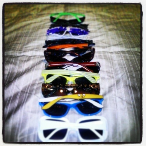 My mini #sunglasses collection. Check out my #partyrock glasses ! #bored. #Jake #Finn #glasses