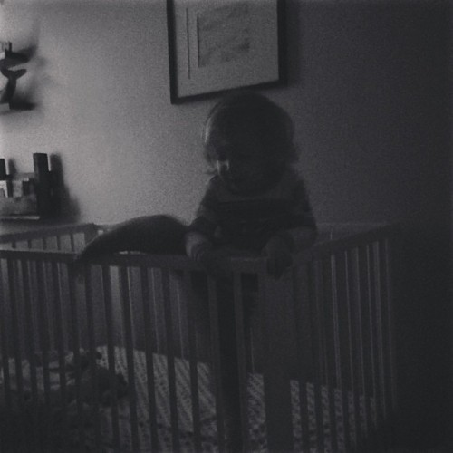 So Fynn figured how to sneak out of his crib, & I caught him in the act.