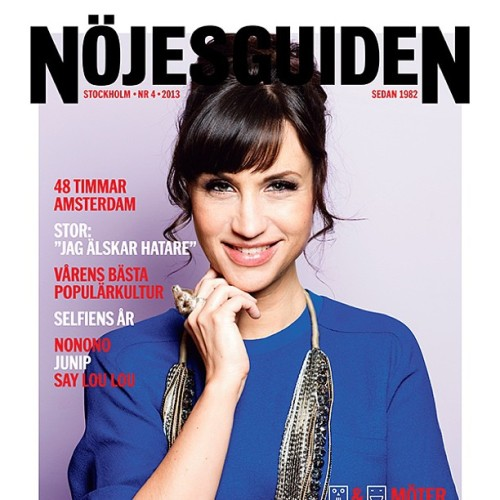 Petra Mede wearing the Beef Ring from Bedazzled on the cover of Nöjesguiden. #bedazzledjewelry #nöjesguiden