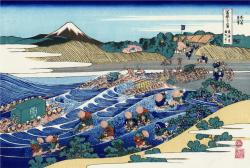 lonequixote:  The Fuji from Kanaya on the Tokaido~ Katsushika Hokusai