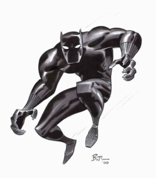brianmichaelbendis:  Black Panther by Bruce Timm   How Bruce Timm draws Black Panther: first draw Batman in the animated series style, remove cape, change cowl to full mask, add Catwoman claws, add Black Widow wrist bands. Black Panther complete.