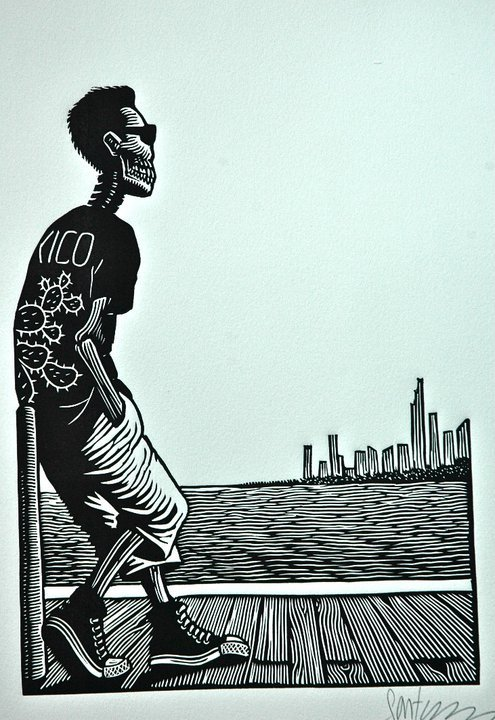 "thinkmexican:  ""Alone at Lake Michigan"" Artist: Sánchez Santamaría  via YoSoy132Chitown"