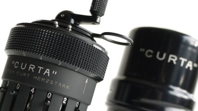 The Curta Mechanical Calculator was considered the best portable calculator available before handheld digital calculators took over the market in the 1970s.  Really interesting looking, beautiful mechanical object. Equally interesting is the story of how it was invented.