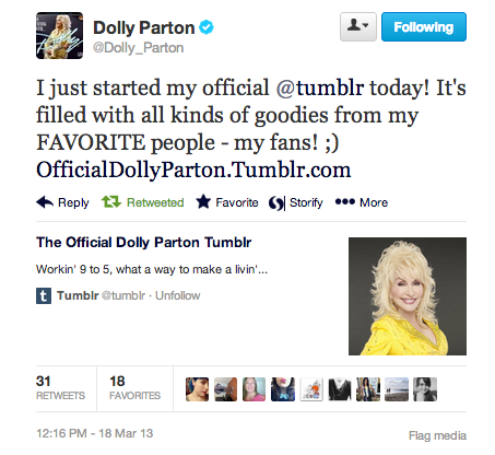 chantaje:  thisismymonkey:  wraparoundcurl:  DOLLY PARTON IS ON TUMBLR.   Very Important News!!!  jesus hold my mule and incoming calls