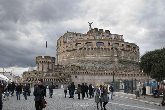 | ♕ |  Castle St'Angelo - Rome at dusk  | by © Marina Sivakova