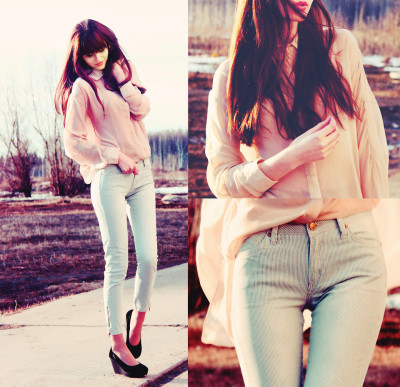 lookbookdotnu:  Mint stripes & pastel pink (by Mary Volkova)