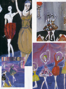 She paints what she loves so much in Russia: Bolshoi ballets. With her gait and her pout that evokes another romance, supermodel Sasha also has a mania: she draws all the time. All the time and everything. On a canvas or a piece of torn paper. With acrylics, watercolor, wine or strawberry. It is like that since she was 6 years old. She took courses in Moscow and in the St. Petersburg Academy of Arts, where she studied with contemporary Russian masters, like Sergei Bugaev. In her studio in Brooklyn, she seeks to express the fragility of things. It's the spectrum of colors that guide her. Landscapes and portraits with an intention always positive, because beauty is all that matters. For these exclusive drawings, she was inspired by her memories of the Valeriy Yakovlevich Levental library, former designer of mythical ballet, also located in New York. — Les Couleurs d'un Soir, Art by Sasha Pivovarova for Vogue Paris October 2006.