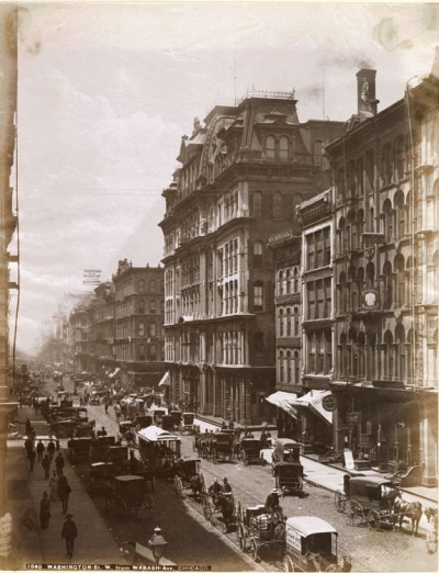 Washington, west from Wabash, 1885, Chicago