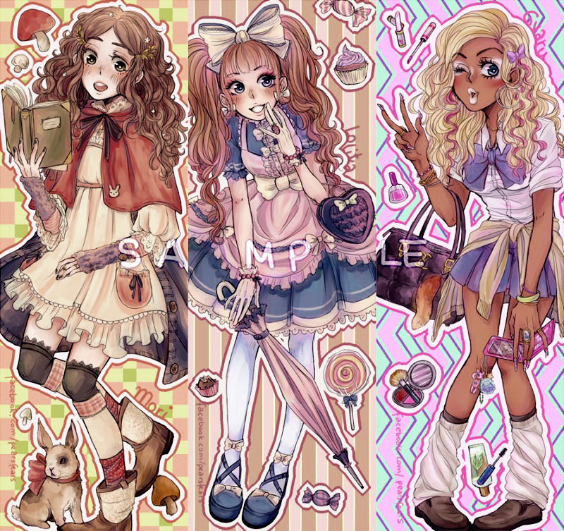 pearsfears:    Fashion bookmarks for the LBM/MCC in two weeks ´3 `Mori, Lolita and Gyaru girls!