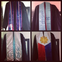 cords and stoles all ready for the morning. damn can't believe it's really graduation. I can't sleep. #like7morehourstilgraduation #classof2013 #lmuclassof2013 #isangbansa #chideltatheta #leaviathans #yeawehaveastole #graduation #surreal 🎓