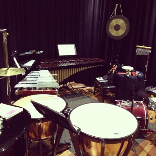 "My percussion set up for the ADDA production of ""Nine"" musical for the next week."