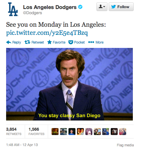 shortformblog:  sportsnetny:  digg:  The LA Dodgers' twitter response to the San Diego Padres after last night's bench-clearing brawl.  Watch the fight here  Today in entertaining responses to entertaining brawls.