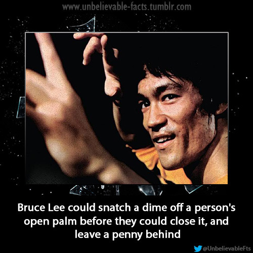 Bruce Lee could snatch a dime off a person's open palm before they could close it, and leave a penny behind