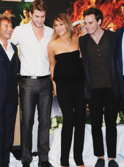 Liam, Jennifer, & Sam at the Catching Fire photocall.