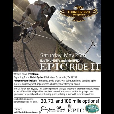 #BikeMonth #Gnar continues!   On Sat 5/25 we're supplying da #coffeedoping for friends @thunderbirdbar's EPIC Ride II in #ATX! Da ride starts at our friends @neloscycles. @EPICBar & Penderson's Bacon will be there too. The ride will have #pro support through out & looks to be #EPIC! #BikeMonth #BikeATX #cycling #grimpeur #specialtycoffee #rideyourbike #drinkgreatcoffee #thunderbirdbar #epicbar  #squaready