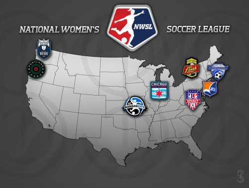 Map of Season 1 NWSL teams!