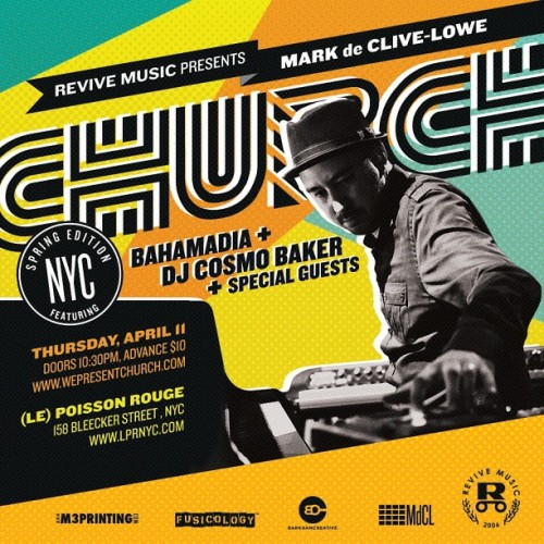 One week until #CHURCH NYC Spring Edition at LPR w guests @bgirlfresh #Bahamadia CosmoBaker @niaandrews @whoisjr @marcusstrickland and more. Don't miss out!