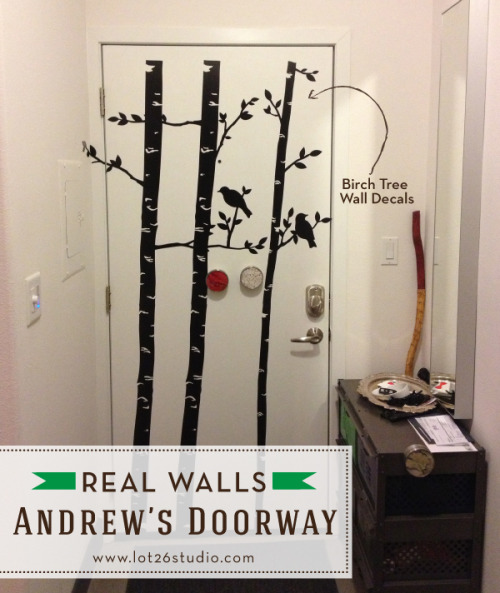 {On The Blog} Real Walls - Andrew's Doorway Decor: We love how creative Andrew was with this space using our Birch Tree Wall Decals!Have you decorated with Lot 26 Studio decor? We'd love to see photos of your space! Send them to hello@lot26.com