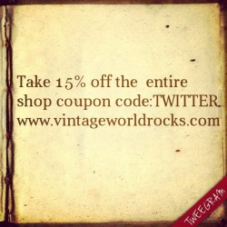 Take 15% off the entire shop coupon code TWITTER www.vintageworldrocks.com #etsy #etsyvintage