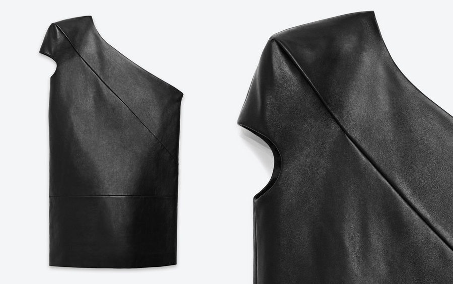 gi-venchy:  Saint Laurent Asymmetrical Dress With Shoulder Padded Cap Sleeve And Diagonal Stitching Detail.