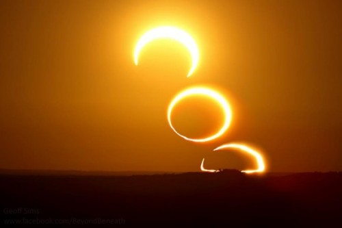 distant-traveller:  A three image sequence of last Friday's rising annular eclipse Inage credit: Geoff Sims