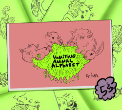 gargledmesh:  Vomiting Animal Alphabet Zine is 26 gloriously drawn animals puking their guts out. Finally, magnificently printed on Luxurious Green Paper.  5$   Gonna get this.