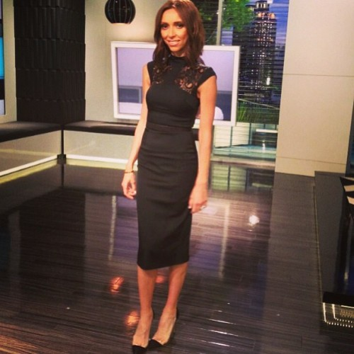 Look of the day @enews: @karenmillen dress with Gianvito Rossi shoes.