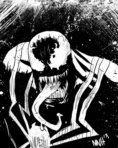 Venom - Sketch This is a piece that I worked on earlier this year for a student that I was mentoring. I promised every student that signed up for the Illustration Club that I would draw a head sketch for them. This is one that I'm pretty content with. It might also be my first time ever drawing Venom.