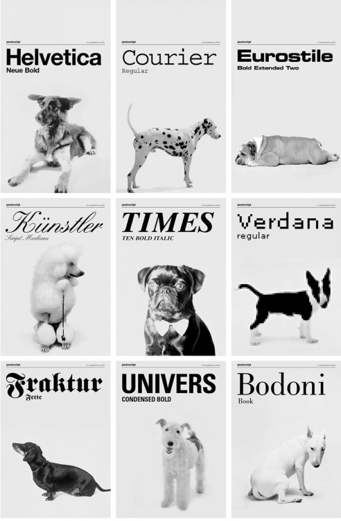 dogs as fonts by grafisches buro created by vienna-based studio grafisches büro is a series of images that playfully interpret which dogs could be related to which typeface - a dalmation as courier, or perhaps a german shepherd as helvetica. the work observes each pet for their various characteristics in the same capacity as comparing fonts - finding the similarities in that of nature and that of a typographer's design. The poster was printed using a silk screen technique on sheets of 1000 by 700 mm and published in a limited edition box.