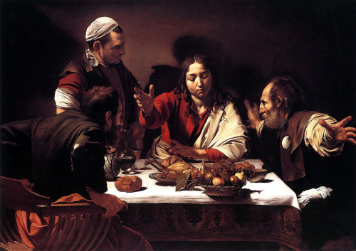 Michelangelo Merisi da Caravaggio. Otherwise known as M.  One of his great works, is this. Restorers say he worked out the composition on the canvas. A more intuitive approach. Caravaggio, the great Italian Baroque painter, knew exactly what he was doing. He was telling a story with great emotional power through gesture and facial expression. No words were needed here. This is the moment… the dramatic moment when Jesus Christ revealed his identity to two of his disciples. Beardless, they had not recognised him.  '… he took bread, and blessed it, and brake and gave to them. And their eyes were opened, and they knew him; and he vanished out of their sight' (Luke 24: 30-31).  Caravaggio, Supper at Emmaus, 1601 (National Gallery London) Go see it. Experience it.