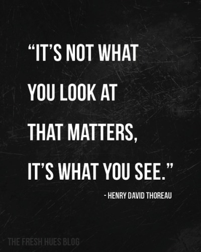 "justthedesign:  ""It's not what you look at that matters, it is what you see."""