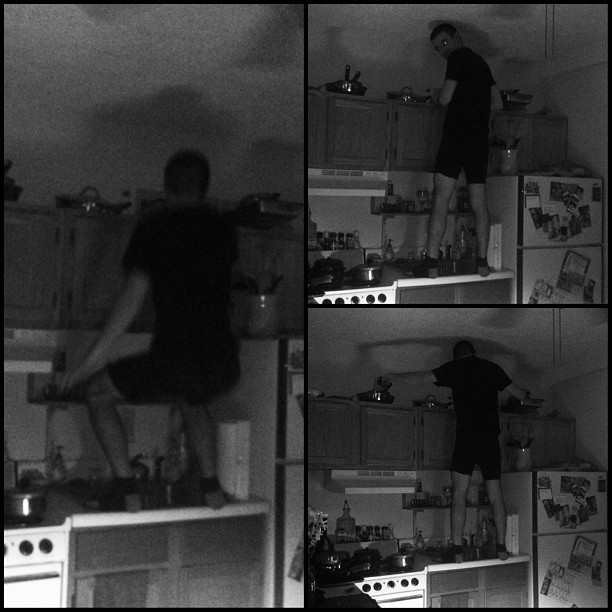 I found a ninja standing on my kitchen sink… #wtf #ninja #kitchen #funny #boyfriend #candid #bw #blackandwhite #collage #caught #weirdo #lovehim