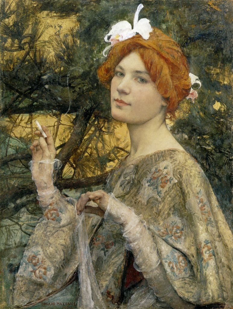 "the-garden-of-delights:  ""Woman with an Orchid"" (1900) by Edgard Maxence (1871-1954)."